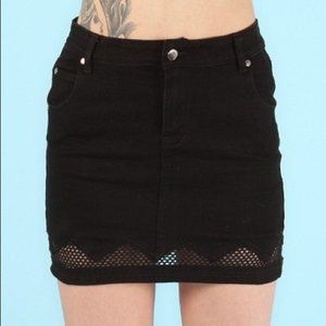 MINKPINK - Denim and Mesh Mini Skirt